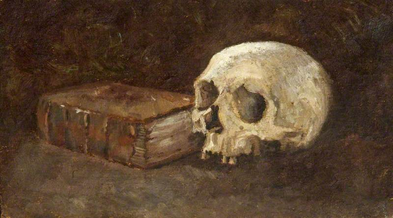 Still Life of a Book and a Skull, Oil by Charles Paget Wade (1883-1956, United Kingdom)