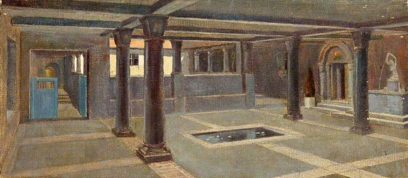 A Pillared Room with a Pool, 1911 by Charles Paget Wade (1883-1956, United Kingdom) | WahooArt.com