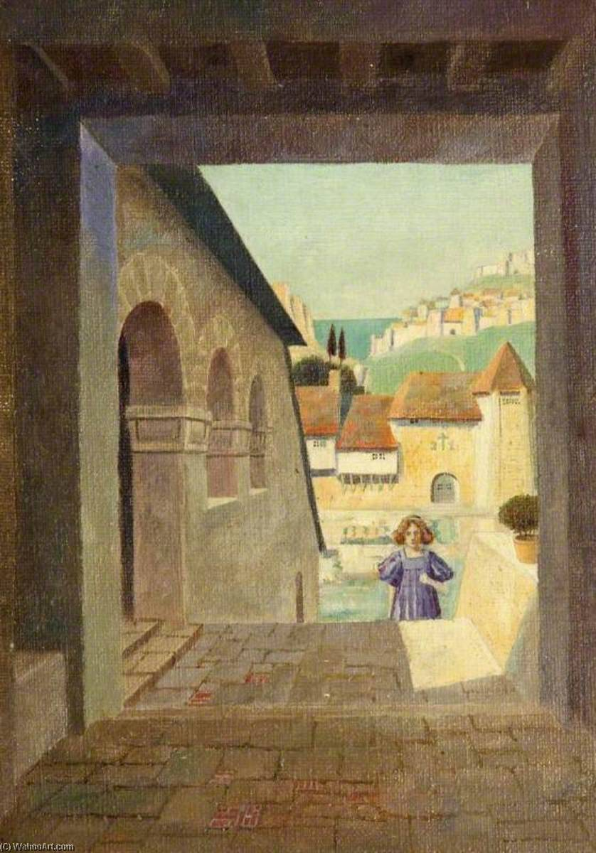 Girl Ascending a Staircase in a Walled Town, Oil by Charles Paget Wade (1883-1956, United Kingdom)