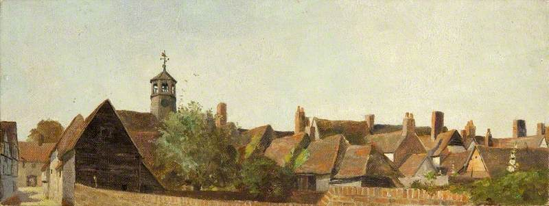 Roofscape, Amersham, with the Clock Turret of the Market Hall, 1909 by Charles Paget Wade (1883-1956, United Kingdom) | WahooArt.com