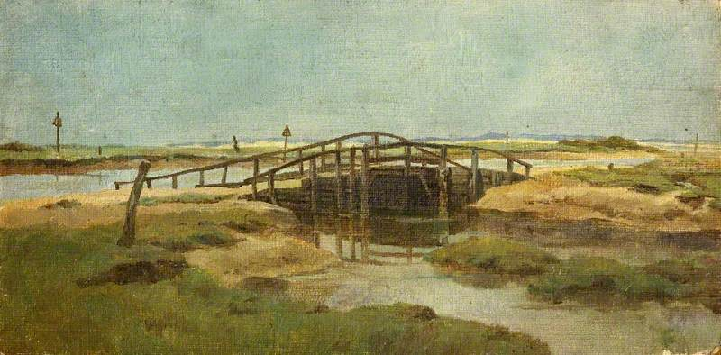 A Bridge at Blakeney, Oil by Charles Paget Wade (1883-1956, United Kingdom)