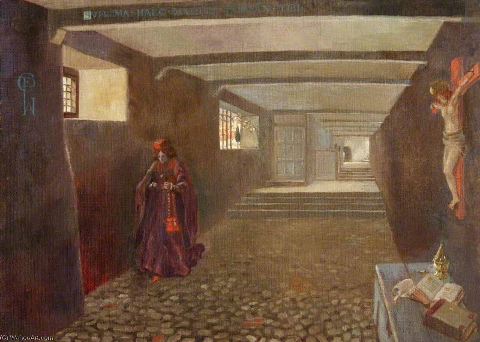 A Stone Corridor, St Kitts, with the Artist in Oriental Dress, 1910 by Charles Paget Wade (1883-1956, United Kingdom) |  | WahooArt.com