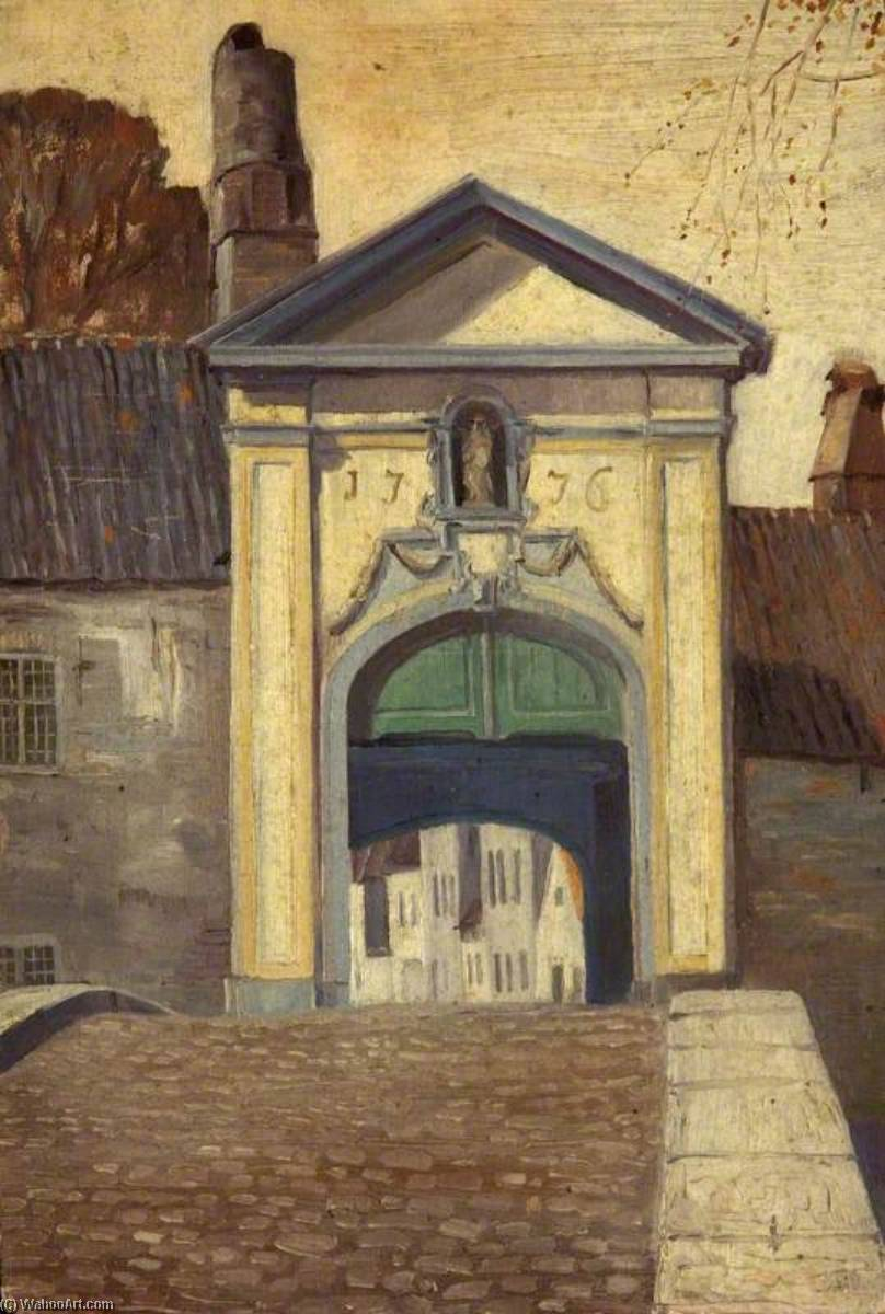 Gateway to the Beguinage, Bruges, Oil by Charles Paget Wade (1883-1956, United Kingdom)