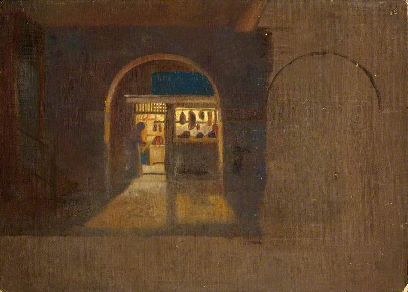 Butcher's Shop at Night, in St Kitts ( ), Oil by Charles Paget Wade (1883-1956, United Kingdom)