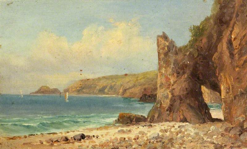 A Beach with Red Cliffs, Oil by Charles Paget Wade (1883-1956, United Kingdom)