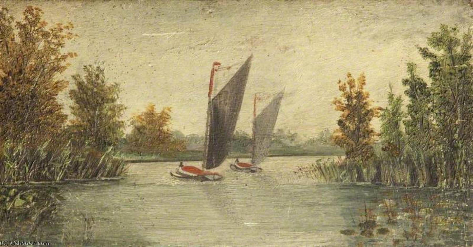Yachts Sailing on a River by Charles Paget Wade (1883-1956, United Kingdom) | WahooArt.com