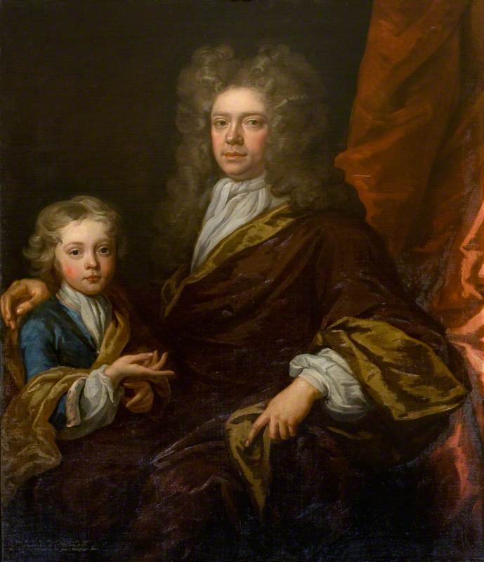 The Honourable Sir David Dalrymple, Bt, Younger Son of 1st Viscount Stair, and His Son Sir James Dalrymple, Bt, Oil On Canvas by John Baptist De Medina