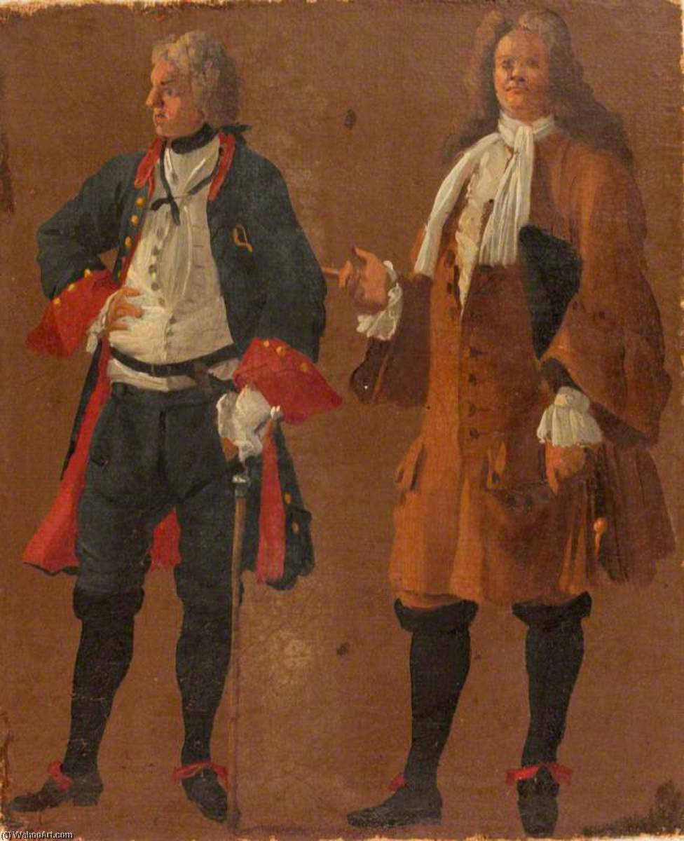 Studies of Two Gentlemen, Oil On Canvas by Luca Carlevaris (1663-1730, Italy)