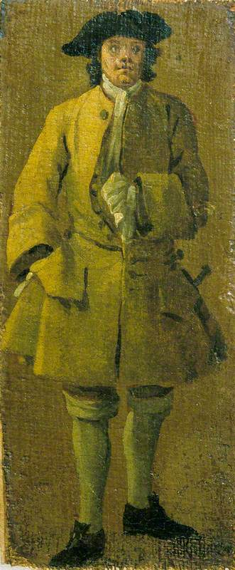 A Man Wearing a Yellow Coat, Oil On Canvas by Luca Carlevaris (1663-1730, Italy)