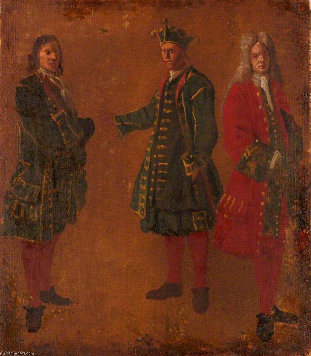 Three Studies of Men, 1710 by Luca Carlevaris (1663-1730, Italy) | WahooArt.com