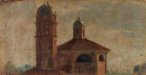 Luca Carlevaris - The Upper Section of a Church with a Hexagonal Dome and Two Towers