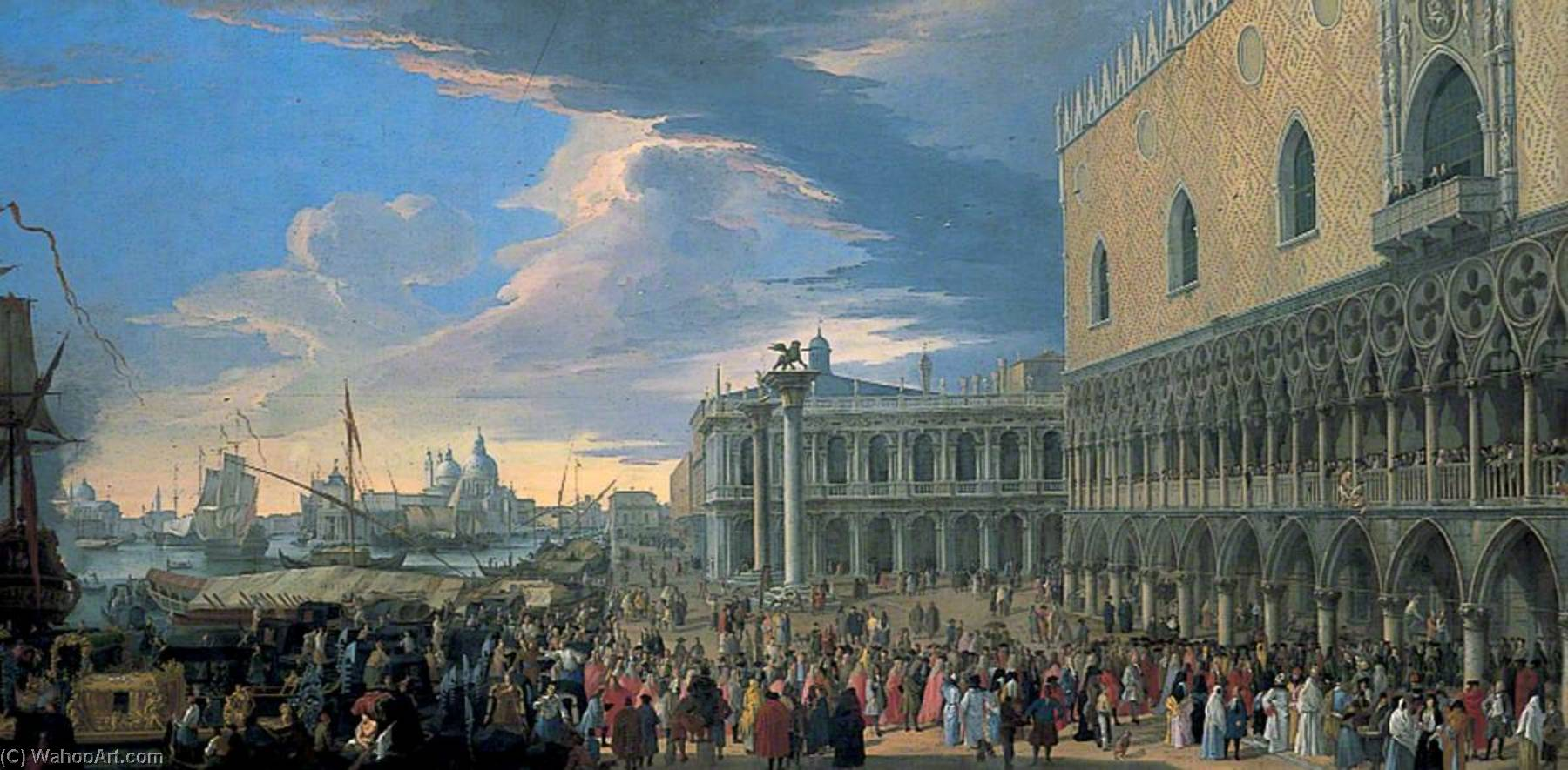 The Arrival of the Earl of Manchester in Venice, 1710 by Luca Carlevaris (1663-1730, Italy) | WahooArt.com