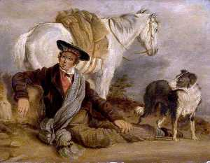 Richard Ansdell - Man Reclining Accompanied by a Horse and a Dog