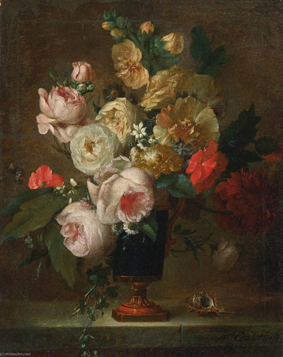 Still life of flowers in a vase with a shell by Anne Vallayer Coster (1744-1818, France) | Paintings Reproductions Anne Vallayer Coster | WahooArt.com