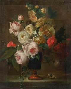 Anne Vallayer Coster - Still Life of Flowers in a Vase with a Shell