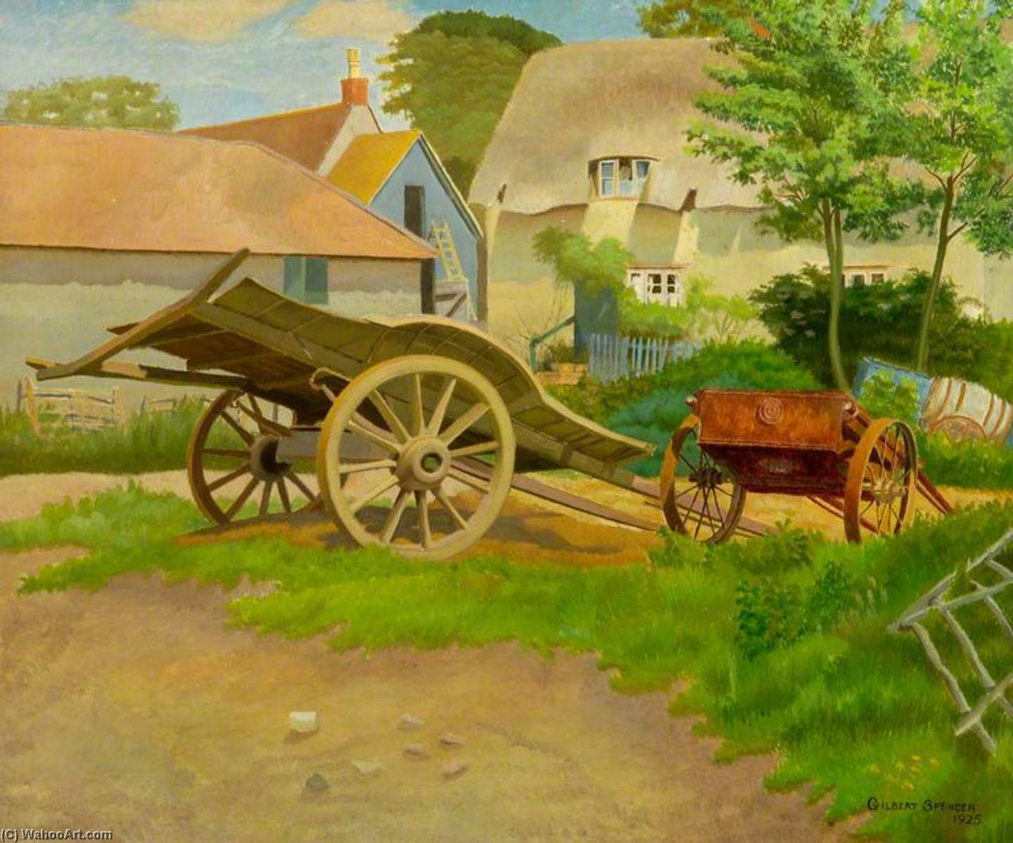 The Farmyard, Garsington, Oxfordshire, Oil On Canvas by Gilbert Spencer (1892-1979, United Kingdom)