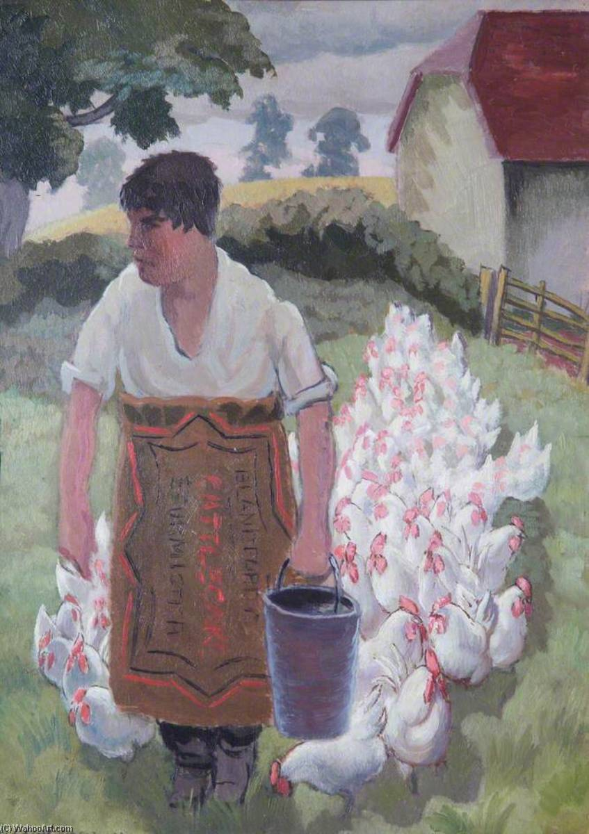 Chicken Boy, 1931 by Gilbert Spencer (1892-1979, United Kingdom) | Oil Painting | WahooArt.com