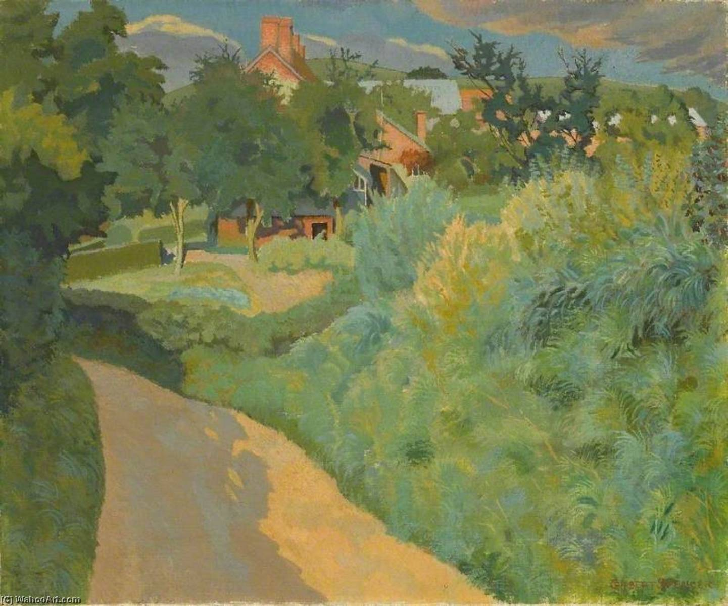 Budden's Lane, Oil On Canvas by Gilbert Spencer (1892-1979, United Kingdom)