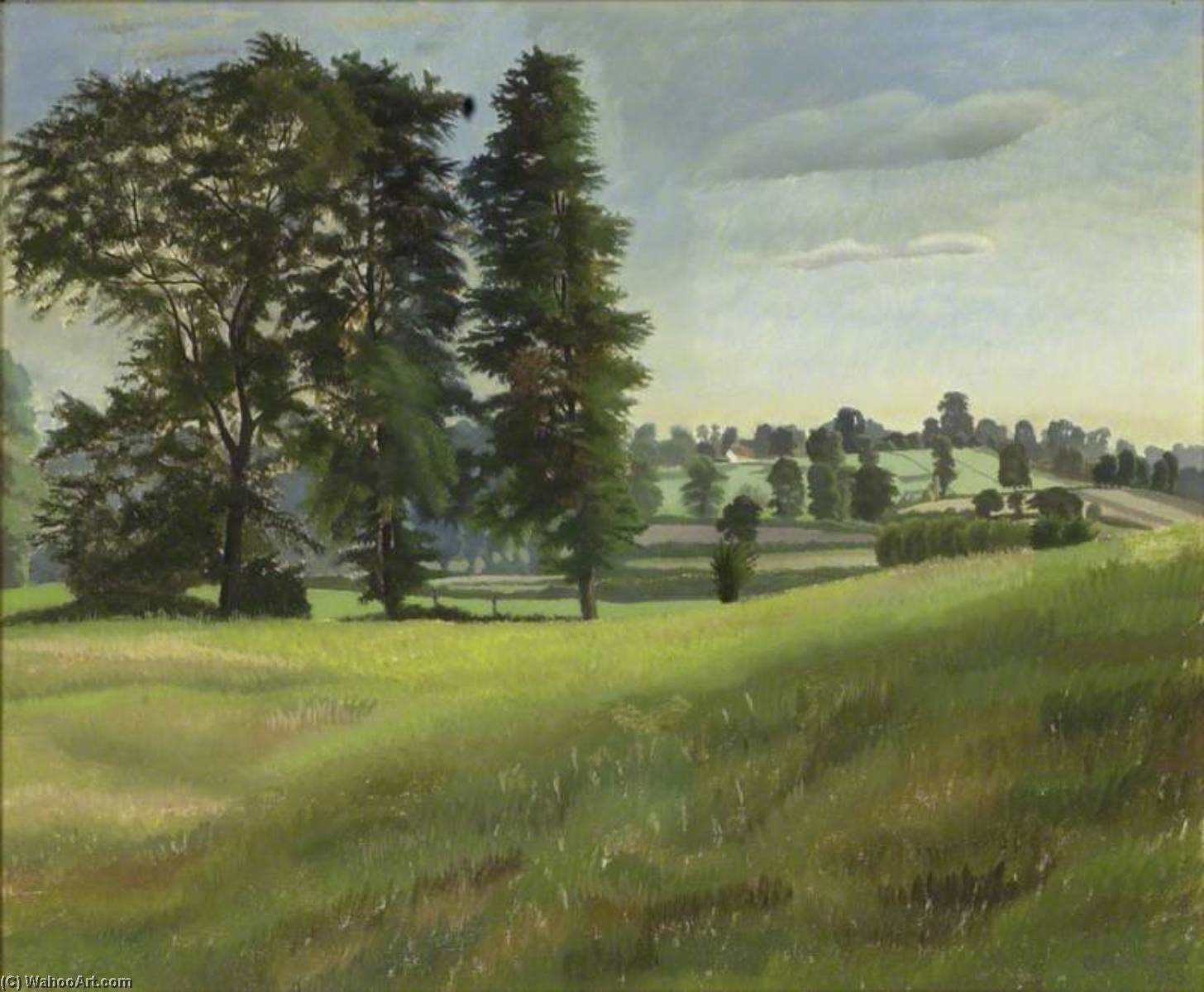 Elm Trees at Garsington, 1925 by Gilbert Spencer (1892-1979, United Kingdom) | Museum Quality Reproductions | WahooArt.com