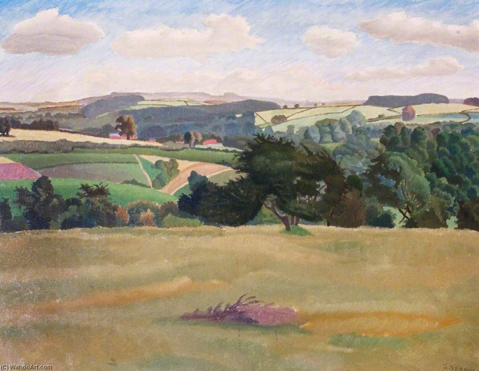 Oxfordshire Landscape, Oil On Canvas by Gilbert Spencer (1892-1979, United Kingdom)