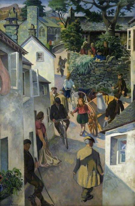 The School on Peggy Hill, Ambleside, 1952 by Gilbert Spencer (1892-1979, United Kingdom) | Oil Painting | WahooArt.com