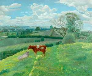 Gilbert Spencer - Landscape with Cows