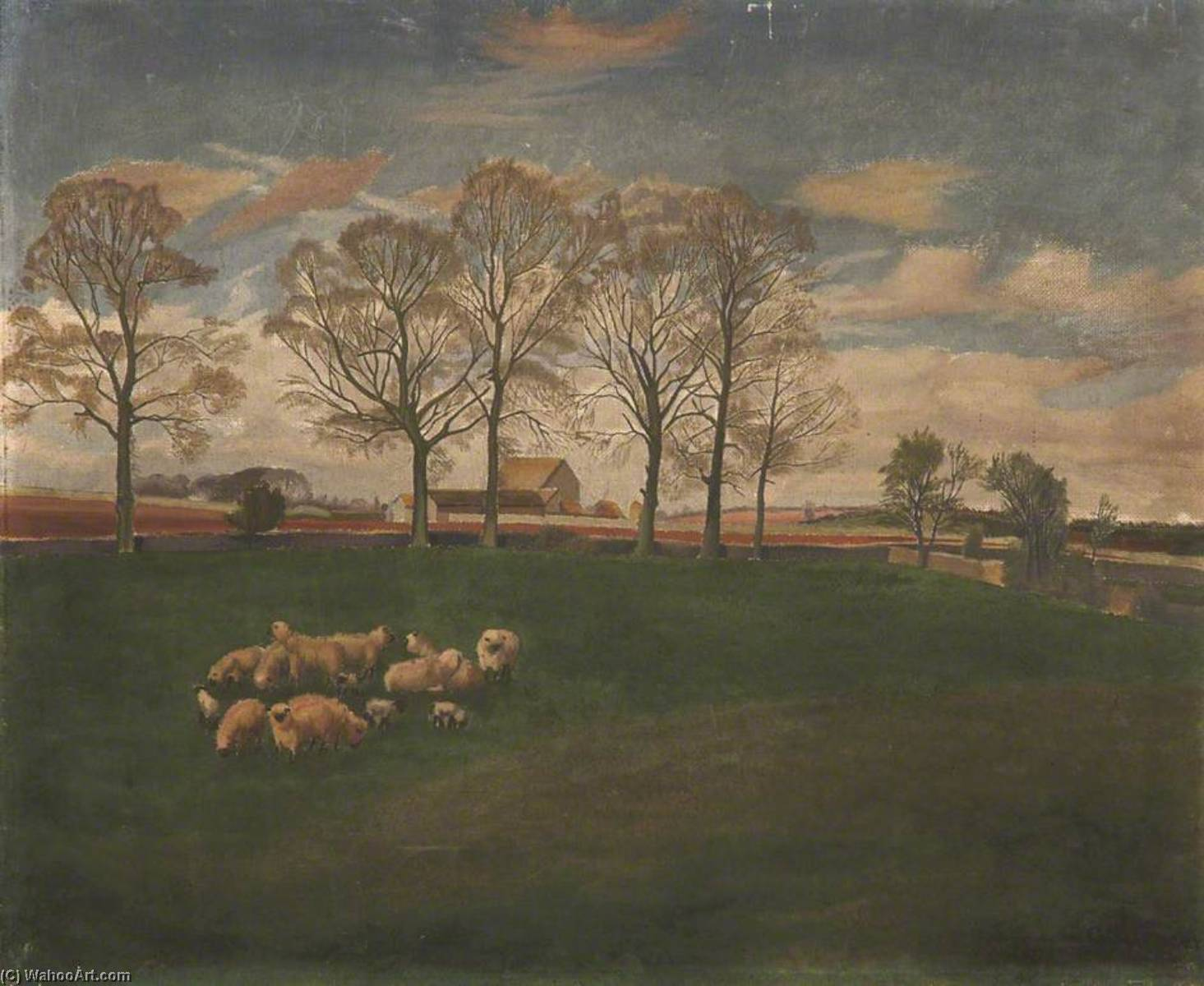 Sheep in a Field by Gilbert Spencer (1892-1979, United Kingdom) | Museum Quality Reproductions | WahooArt.com