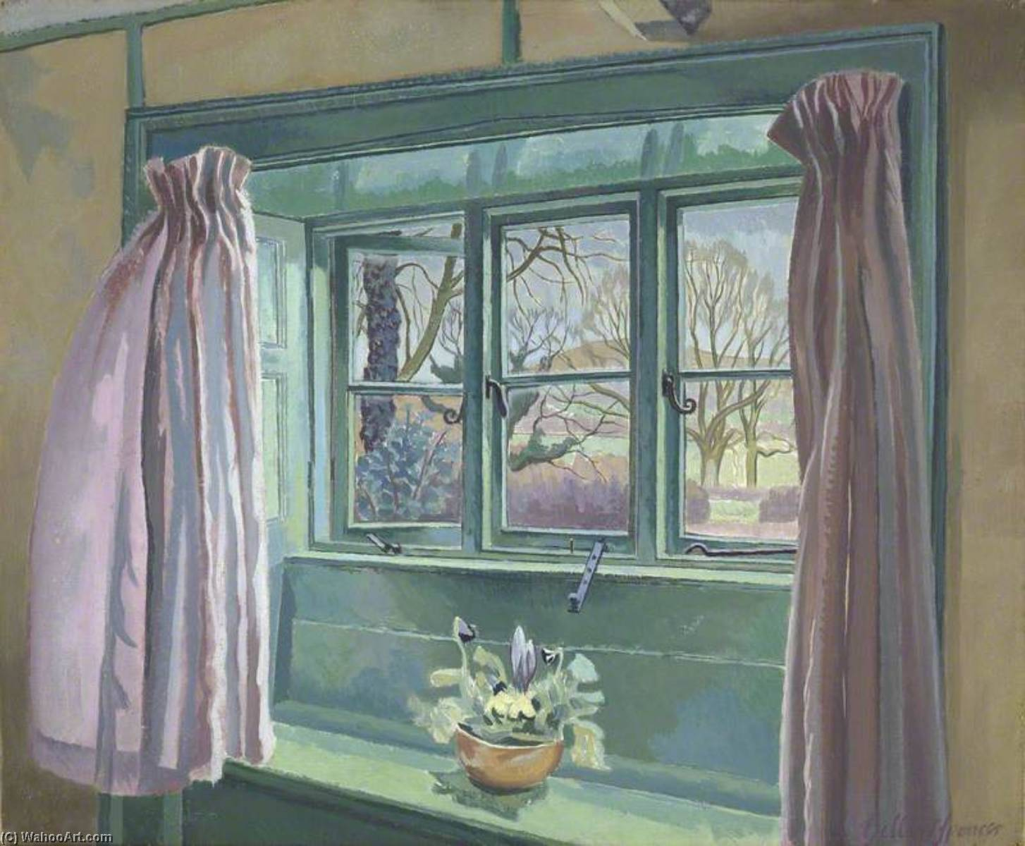 The Cottage Window, Oil On Canvas by Gilbert Spencer (1892-1979, United Kingdom)