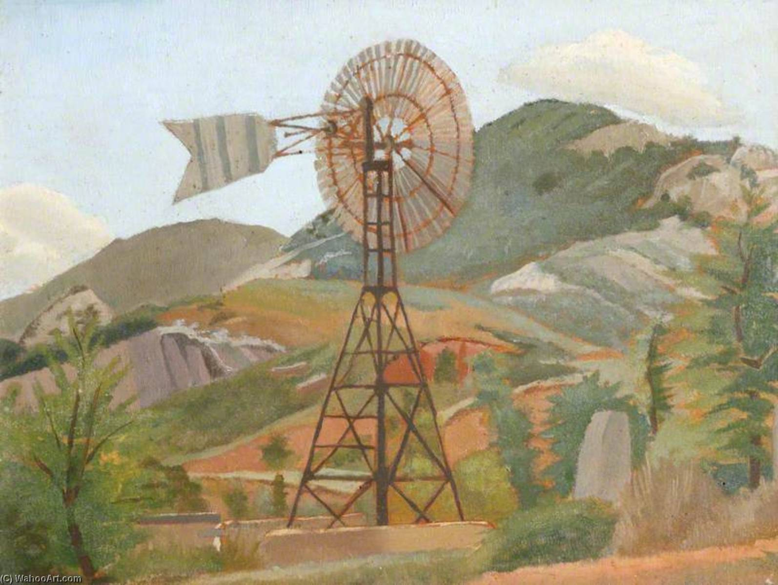Mountain Landscape with a Windmill by Gilbert Spencer (1892-1979, United Kingdom) | Museum Quality Reproductions | WahooArt.com