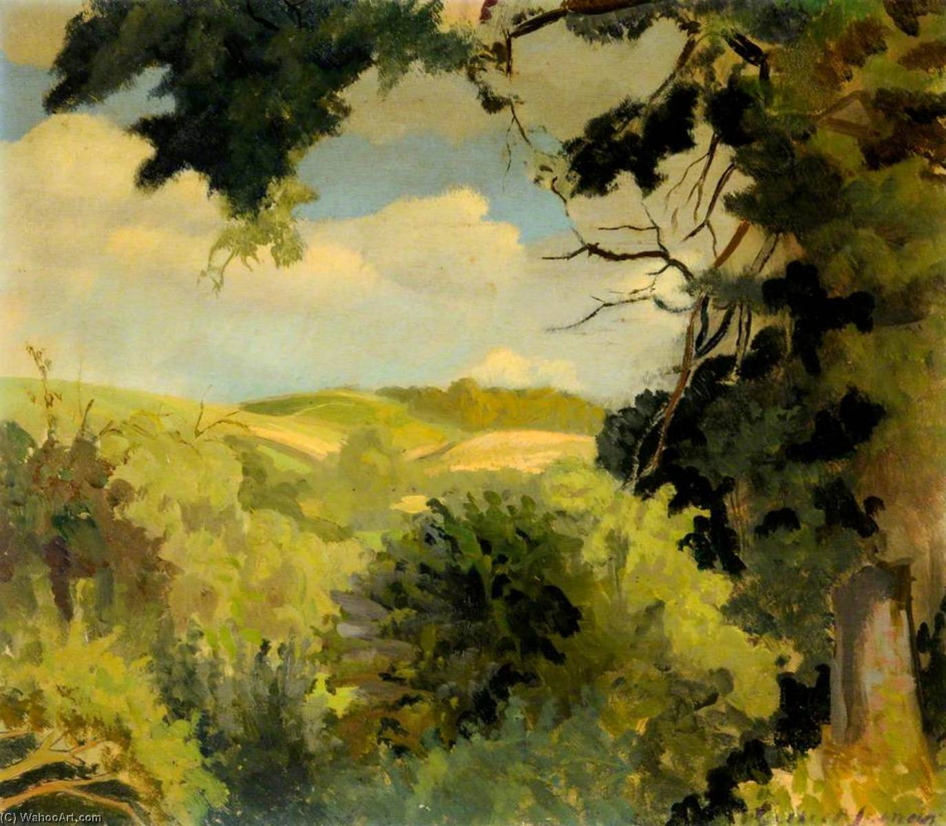 Dorset Landscape No.1 by Gilbert Spencer (1892-1979, United Kingdom) | Painting Copy | WahooArt.com