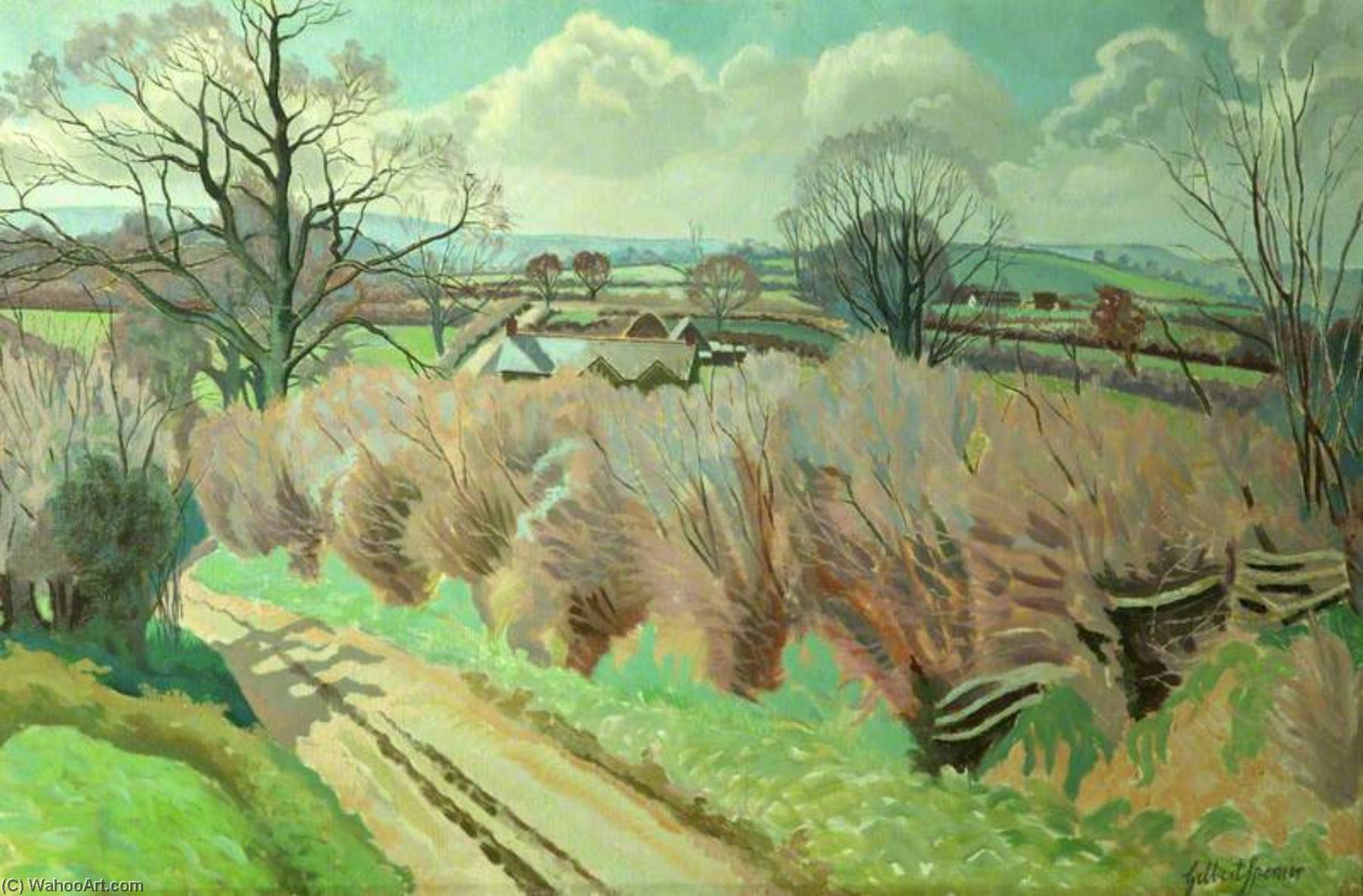 Twyford, Dorset, Oil On Canvas by Gilbert Spencer (1892-1979, United Kingdom)