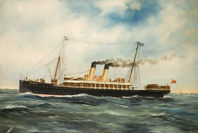 SS `Dresden`, 1915 by Alfred Jensen (1903-1981, Guatemala) | Oil Painting | WahooArt.com