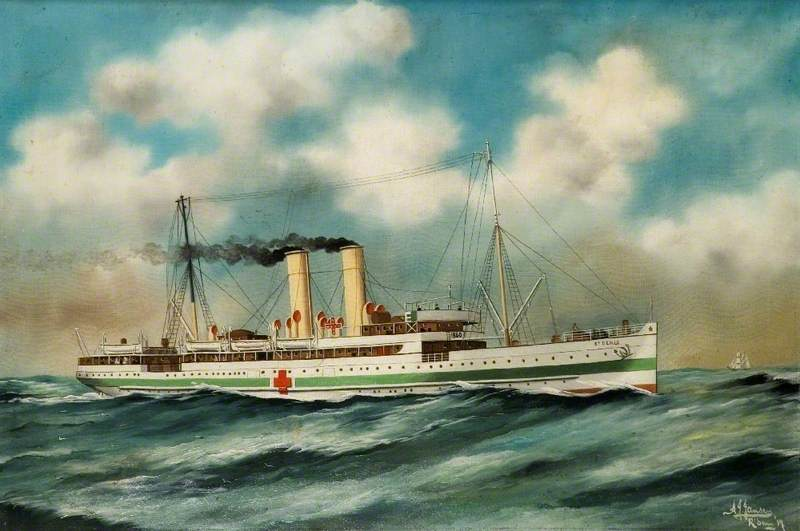 SS `St Denis`, 1917 by Alfred Jensen (1903-1981, Guatemala) | Painting Copy | WahooArt.com