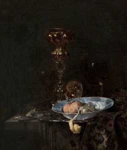 Willem Kalf - Still Life Silver Gilt Goblet and Bowl of Fruit