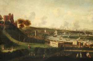 Jan Griffier - London and the River Thames from One Tree Hill, Greenwich Park