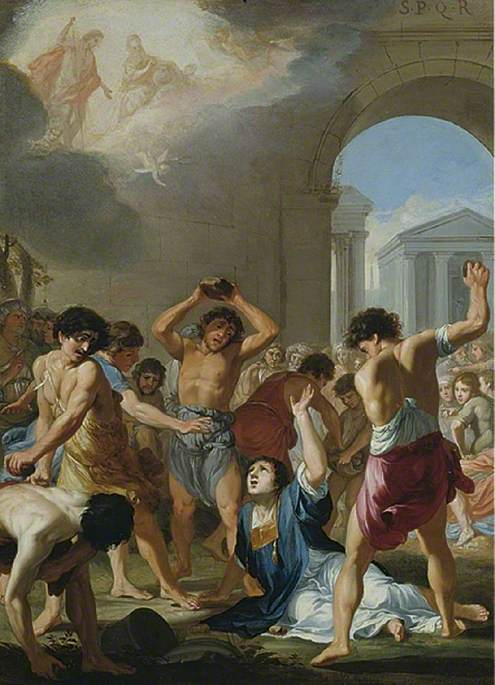 The Martyrdom of St Stephen, Oil On Copper by Jacques De Stella (1596-1657)