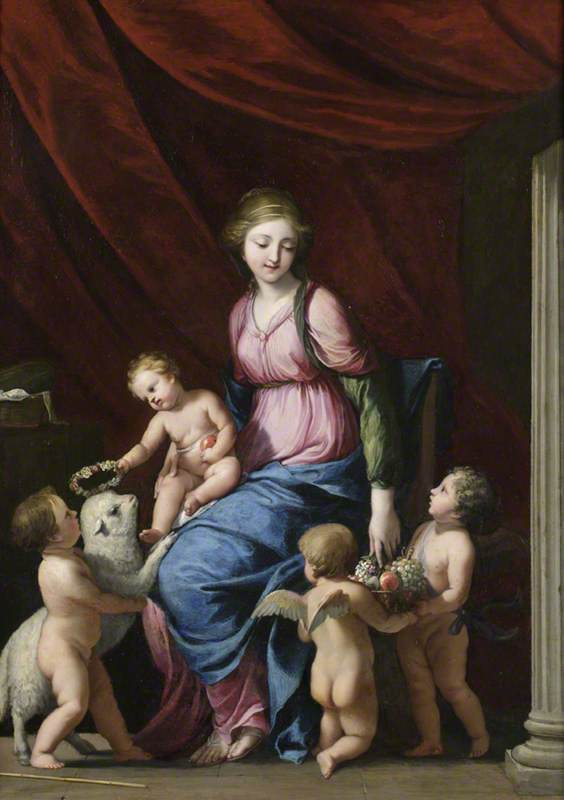 Order Paintings Reproductions | The Virgin and Child with Saint John the Baptist and Child Angels, 1640 by Jacques De Stella (1596-1657) | WahooArt.com