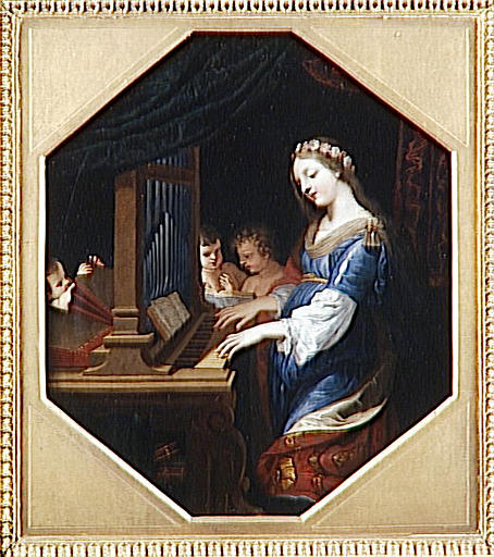 SAINTE CECILE JOUANT DE L'ORGUE, Oil by Jacques De Stella (1596-1657)