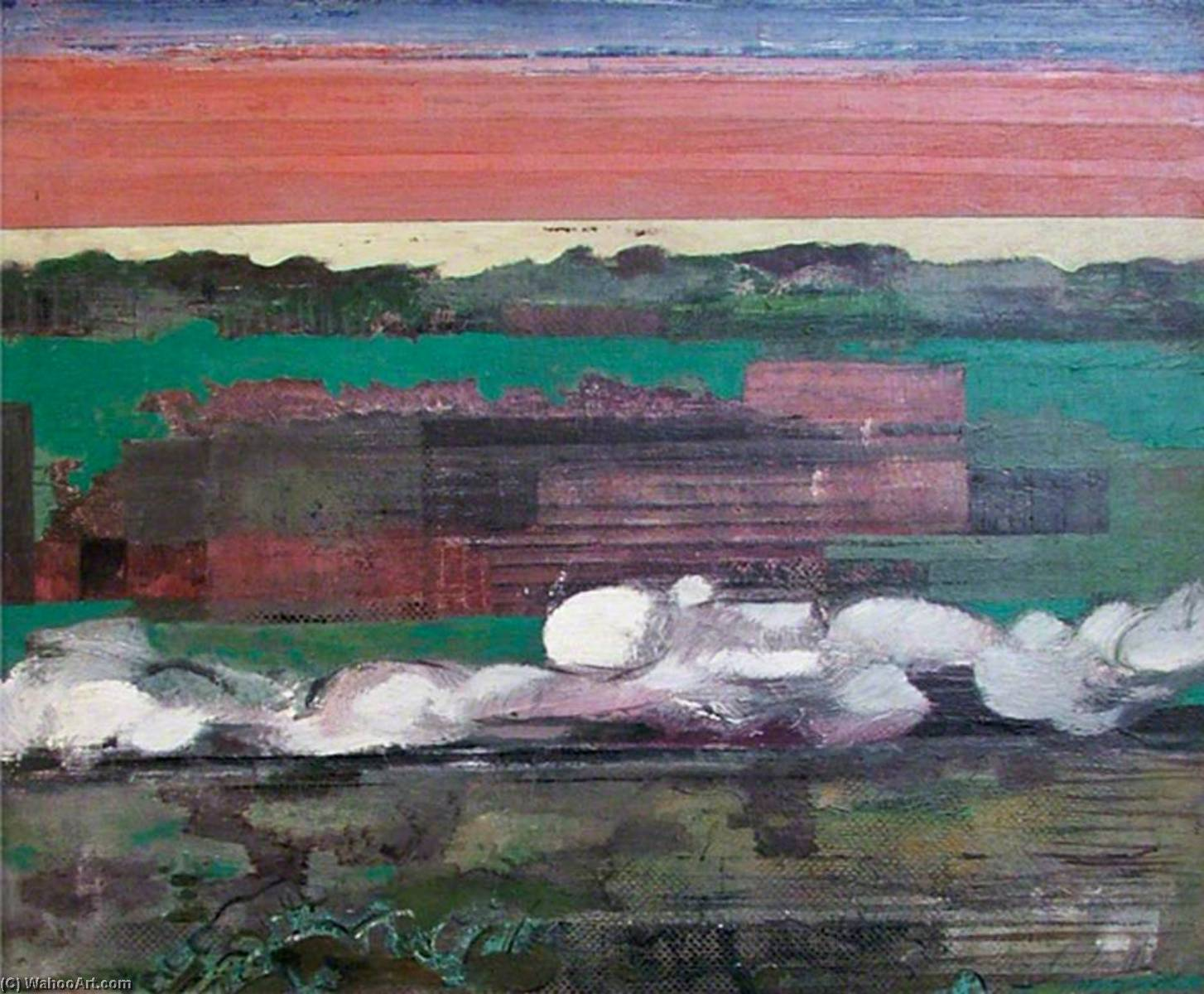 Passing Train in a Landscape, 1942 by Ceri Giraldus Richards (1903-1971, United States) | Museum Quality Reproductions | WahooArt.com