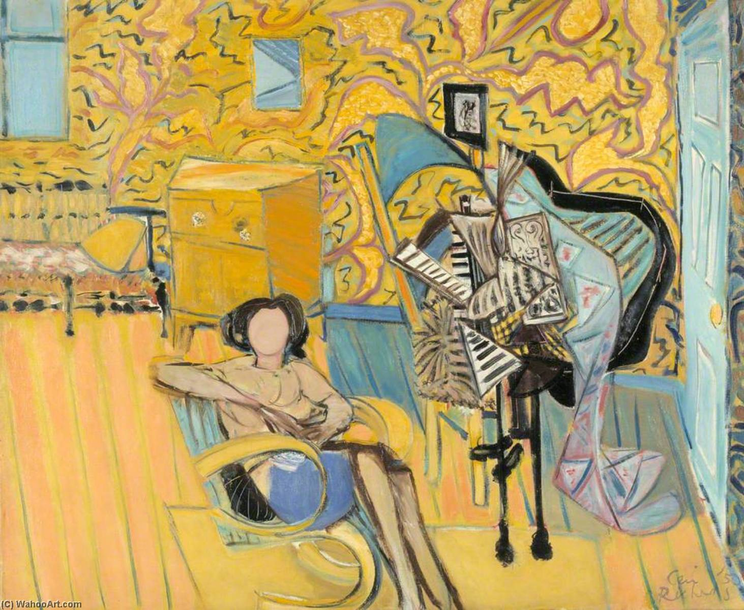 Yellow Interior, Oil On Canvas by Ceri Giraldus Richards (1903-1971, United States)
