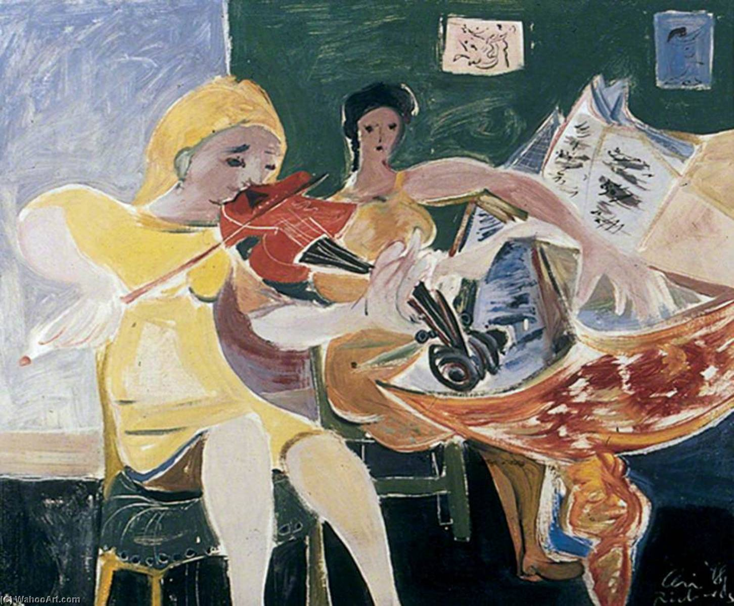 The Violinist, Oil On Canvas by Ceri Giraldus Richards (1903-1971, United States)