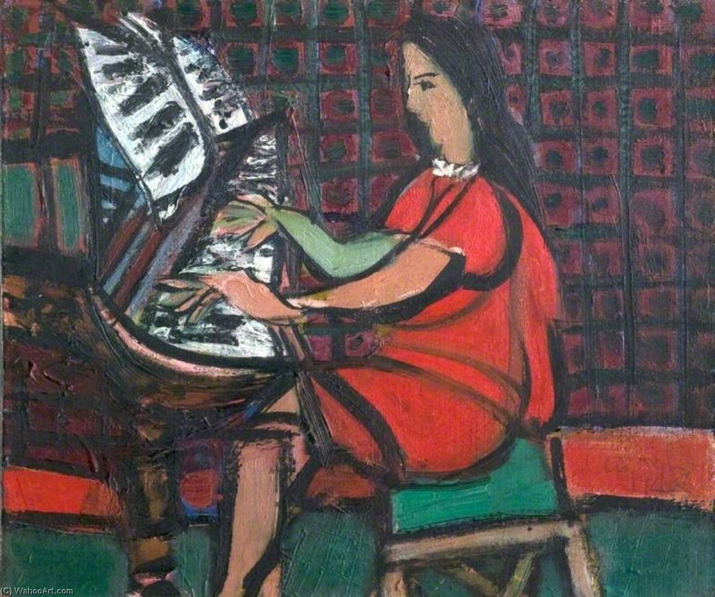 Girl at a Piano, Oil On Canvas by Ceri Giraldus Richards (1903-1971, United States)