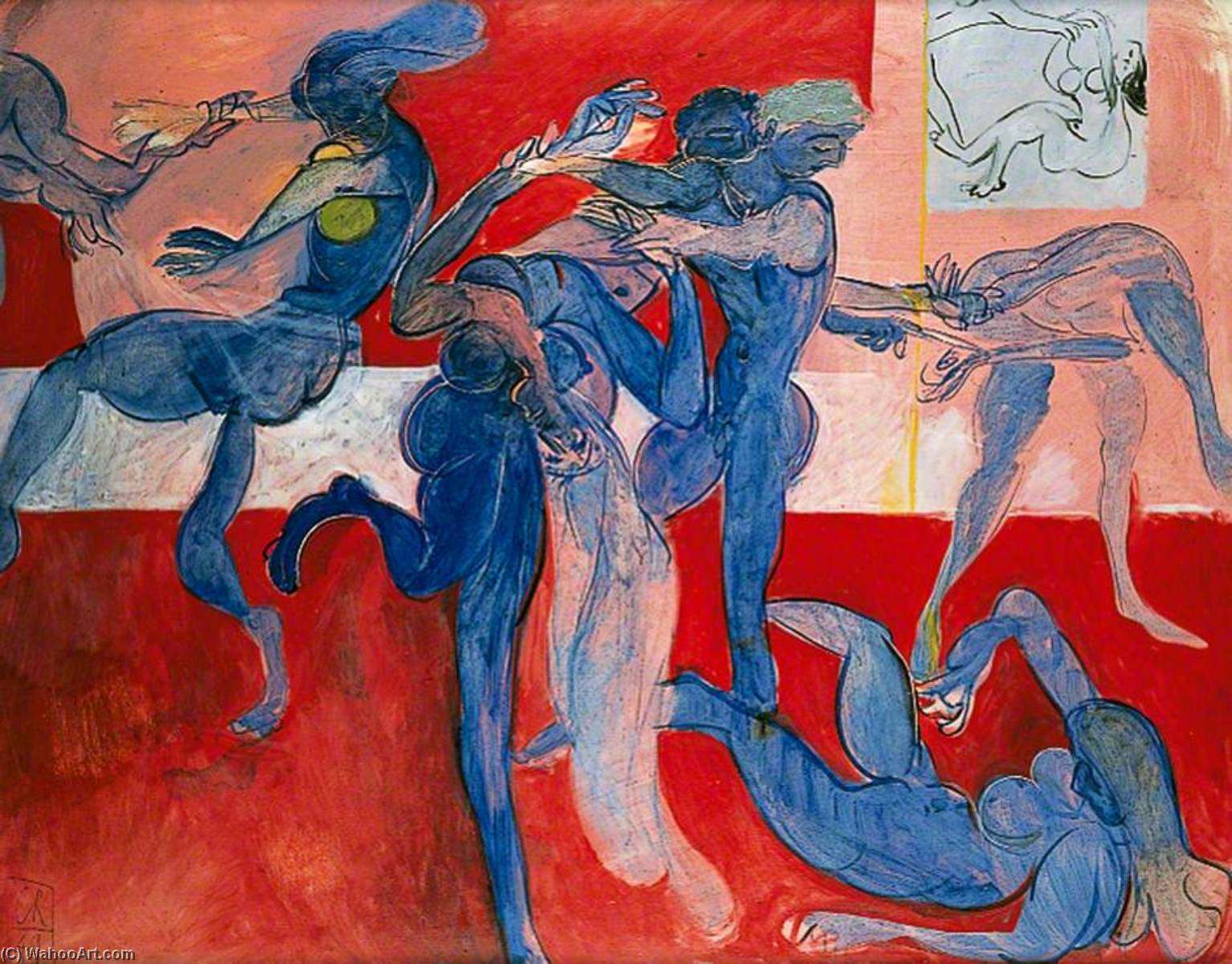 The Rape of the Sabines (Saudade), Oil On Canvas by Ceri Giraldus Richards (1903-1971, United States)