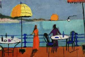 Fred Uhlman - Café, Sunset