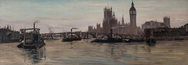 The Thames at Westminster by Edwin Edwards (1823-1879) | Art Reproductions Edwin Edwards | WahooArt.com