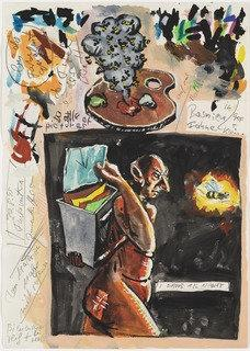 I DROVE ALL NIGHT, Gouache by Jörg Immendorff (1945-2007)