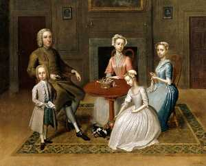 Thomas Bardwell - Group Portrait (possibly of the Brewster Family), in a Domestic Interior