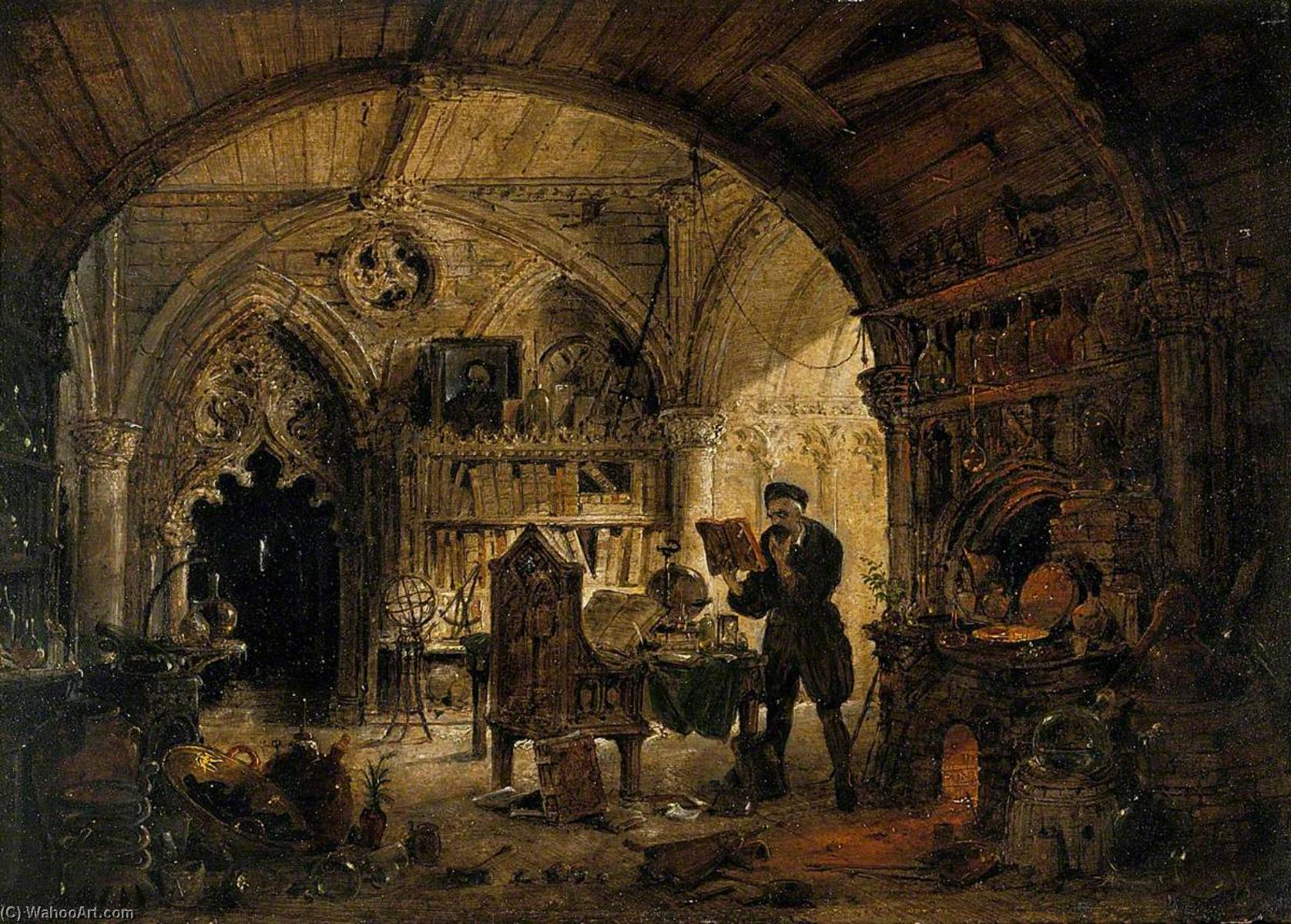 An Alchemist in His Laboratory by James Nasmyth (1808-1890, Scotland) | Oil Painting | WahooArt.com