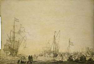 Willem Van De Velde The Elder - Kaags Close to the Shore in a Busy Scene near Den Helder