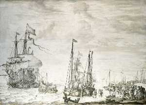 Willem Van De Velde The Elder - A Dutch Flagship, Thought to be the 'Eendracht' at Anchor Close In